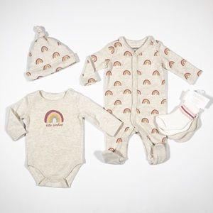 NWT Newborn One-Piece, LS Onesie, Hat, Socks